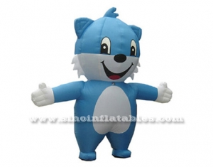 blue cat advertising inflatable costume