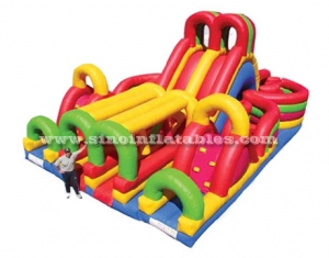 kids giant inflatable obstacle course with big slide