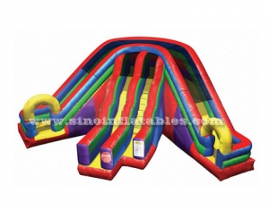 rainbow triple lane inflatable slide
