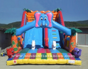 big elephant inflatable jungle slide