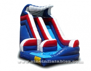 sharp curve inflatable water slide with pool