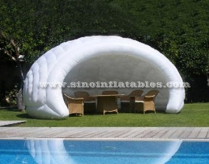 small white inflatable shell tent for coffee bar