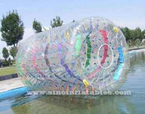 long clear inflatable zorb roller with colorful ribbons