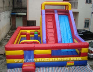 big commercial kids inflatable combo slide with obstacle