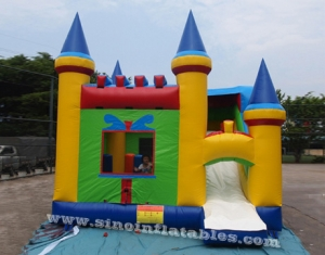 Pop rainbow kids inflatable combo castle