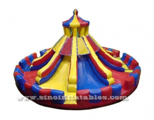 Outdoor round circus multi lane inflatable slide