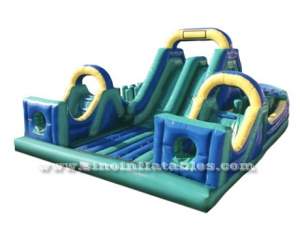 kids giant inflatable obstacle course with 2 big slides