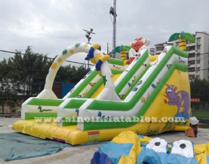 6 meters high jungle inflatable slide