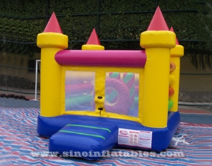 Colorful backyard kids inflatable jumping castle with pillar N ring inside