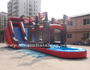 Giant pirate ship inflatable water slide with slip n slide for adults