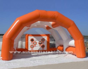orange inflatable football goal tent