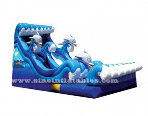 commercial grade three dolphins inflatable water slide