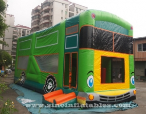 Commercial grade giant bus inflatable bouncer with slide N pillars inside