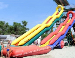 Commercial grade outdoor double lane sharp inflatable water slide