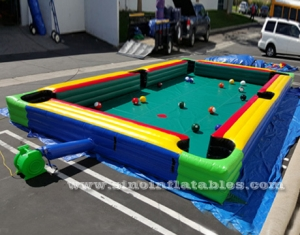 giant human inflatable snooker pool table