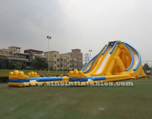 3 lanes hippo giant inflatable water slide for adults