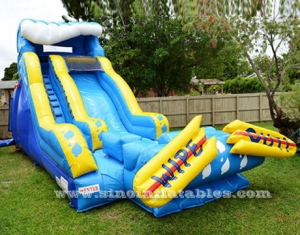Giant Wipeout Inflatable Water Slide With Pool