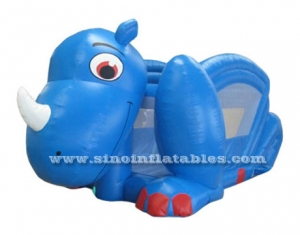 blue dino inflatable slide