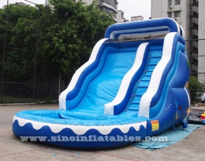 17' ocean wavy commercial inflatable water slide with pool