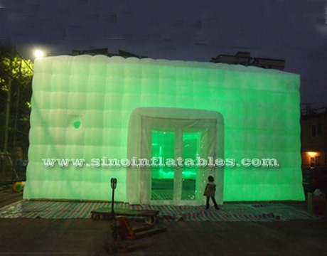 white large inflatable wedding party tent with LED lights