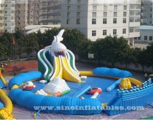 giant shark slide kids N adults inflatable water park