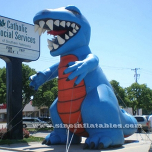 giant blue advertising inflatable dinosaur