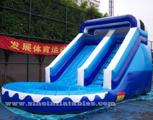 ocean blue inflatable wet slide with pool for kids