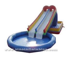 kids adults giant inflatable pool slide with sharp climb