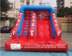 kids red clown inflatable slide