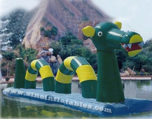 Outdoor giant hippo inflatable water obstacle course