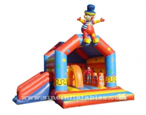 Commercial grade lovely clown inflatable castle