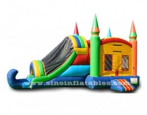 Outdoor kids rainbow inflatable combo game