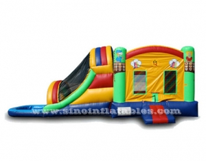 Kids garden inflatable combo game with water pool