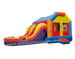 Kids inflatable combo house with big double lane slide