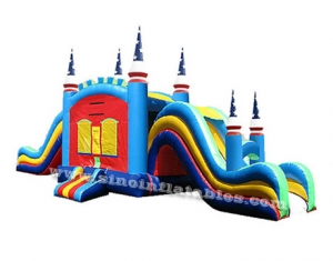 Kids double lanes slide inflatable jumping castle