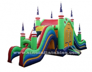 Rainbow inflatable bounce house with slide