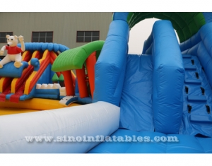 giant inflatable water park above ground