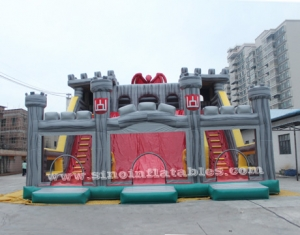 children giant medieval inflatable castle slide