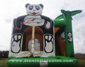 kids panda inflatable combo bouncy castle