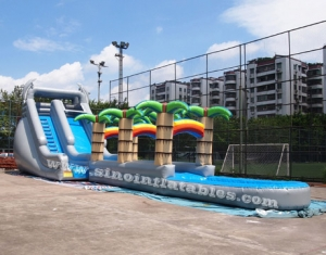 long kids tropical inflatable water slide