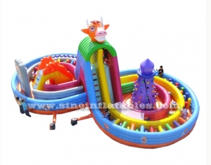 inflatable fun park with high slide and curve obstacle course
