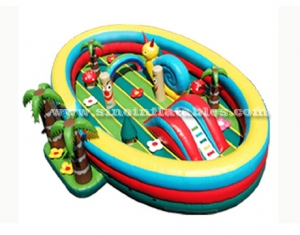 kids inflatable amusement park with coconut tree entrance