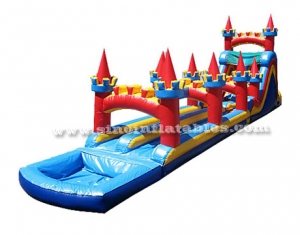 castle theme kids inflatable slide N slip