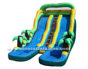 tropical giant inflatable water slide with pool