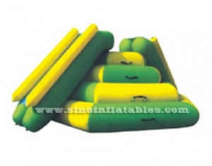 Airtight floating water inflatable action tower with slide