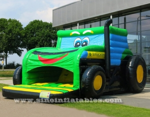 tractor car inflatable bouncer with small slide inside