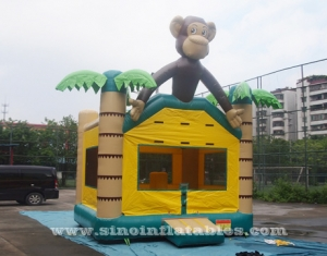 jungle monkey bounce house with obstacles