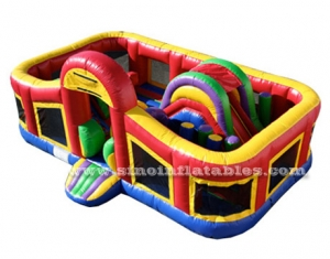 Toddler kids rainbow paradise inflatable obstacle course