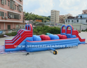 double lane adult wipeout inflatable assault course
