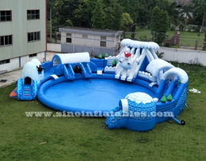 giant inflatable water park on land